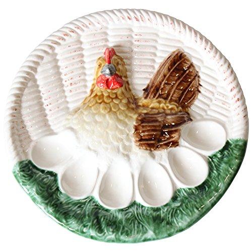 DRW - Plato de cerámica para Huevos Rellenos Decorado con una gallina ø27cm