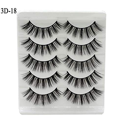 KADIS 5Pairs 3D Eyelashes False Lashes Natural Handmade Volume Soft Eye Lashes Fake Eyelash Extension Makeup,3D18