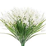 NAHUAA 4 Pcs Flores Artificiales de Convallaria Majalis Blancas Plantas Artificiales Exterior e Interior Flores Falsas Jarrones Decorativos para Cocina Jardín Oficina Boda