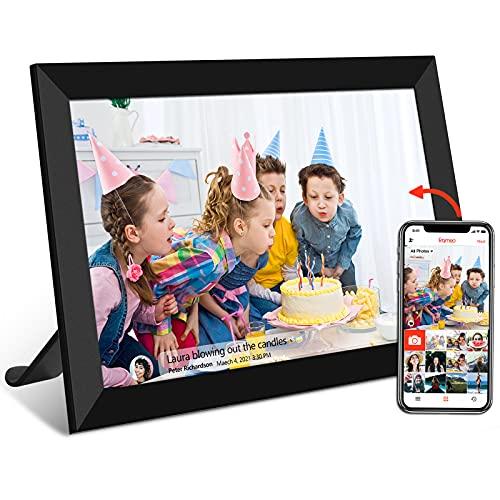 FRAMEO Cornice digitale WiFi da 10,1 pollici, con schermo touch screen FHD IPS per foto e video possono essere condivisi in qualsiasi momento e ovunque, tramite l app, 16 GB di memoria