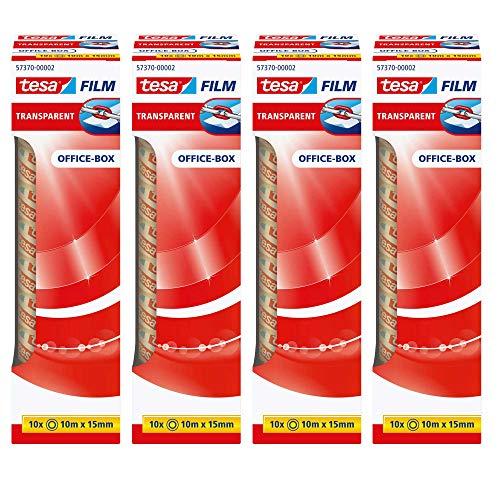 4er Sparpack tesafilm transparent, 10m x 15mm, 40 Rollen (4er Pack 10m:15mm)