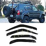PLDDE 4 pcs For 00-04 Nissan Xterra Front+Rear Sun/Rain Guard Outside Mount Window Visors