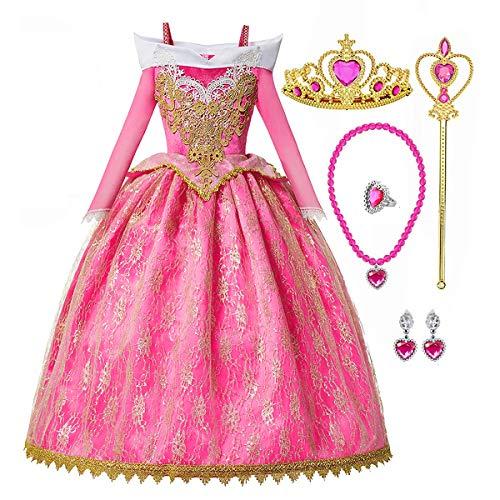 Disfraz de princesa para niñas pequeñas, con tiara, disfraz de Halloween,...