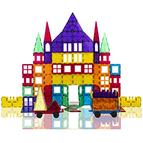 Gifts2U Magnetic Building Tiles, 116pcs Construction Blocks Set for Kids with Guide Booklet and Storage Box, Magnet Stacking Kit, Creative Educational STEM Toys