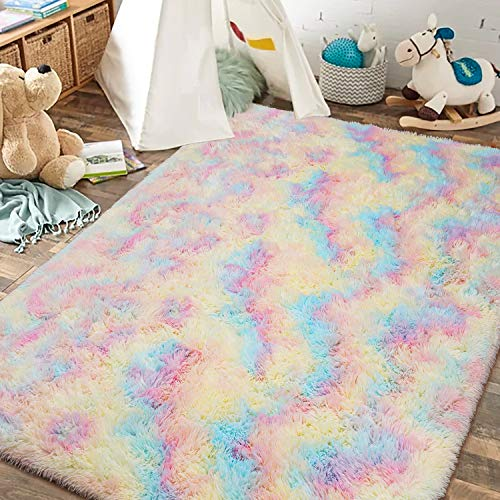 JOYFEEL Fluffy Shag Area Rugs for Bedroom Living Room Nursery, 4' x 6' Colorful Rug for Baby Girls Princess, Stain Resistant Sound Insulation, Plush Fuzzy Fur Accent Carpet for Home Floor Decor