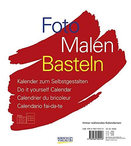 FMB weiß immer während 21,5 x 24: Bastelkalender ohne Jahr. Fotokalender zum Selbstgestalten. Do-it-yourself Kalender mit festem Fotokarton.