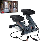 Women's Health Men's Health Bluetooth Cardio Stair Stepper with Adjustable Resistance Bands and with MyCloudFitness App, Black from Paradigm Health and Wellness