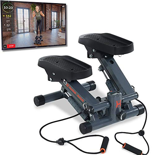 Women's Health Men's Health Bluetooth Cardio Stair Stepper with Adjustable Resistance Bands and with MyCloudFitness App, Black