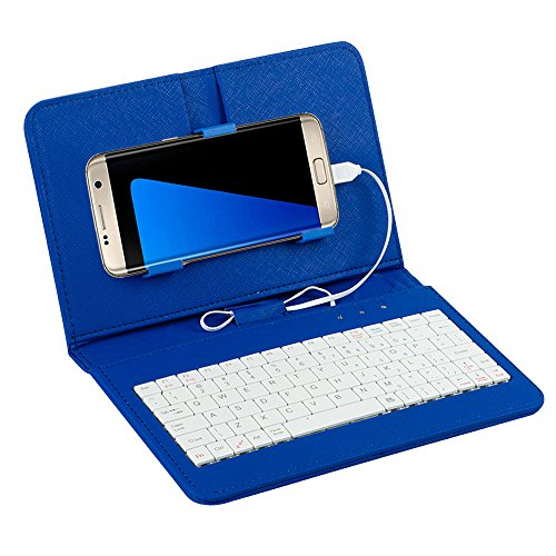 Tonsee General Wired Keyboard Flip Holster Case for Andriod Mobile Phone 42 68Blau