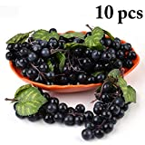 Uva Finta,Justdolife 10 Pcs Artificiale Uva Decorativa Frutta Finta Grappoli Uva Finta Dec...