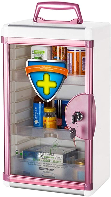 Djyyh Medical Storage Cabinet Emergency First Aid, Wall Mounted Metal Drugs Storage First Aid, Locking Door, Keys