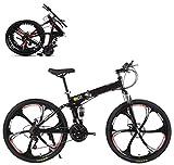 Bicicleta de montaña Plegable 26 Pulgadas, Bicicleta de montaña de Bicicleta para Adultos 21 Acelerador de Cambio de Velocidad con 6 Rueda de Cortador (Color : Black)