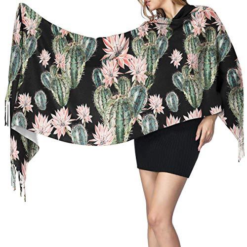 Bufanda grande para mujer, elegante, diseño de cactus y flores rosas, tacto de cachemira, suave