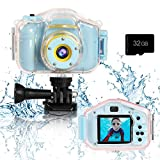 Agoigo Kids Waterproof Camera Toys for 3-12 Year Old Boys Girls Christmas Birthday Gifts HD Children's Digital Action Camera Child Underwater Sports Camera 2Inch Screen with 32GB Card from Agoigo
