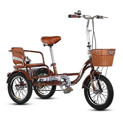 ZNND Bicicletas reclinadas Mayores Triciclo Adulto 14 Pulgadas 3 Ruedas Bikes Pedal Cruiser Trike Bicicletas Sola Velocidad para Mujeres Hombres con Asiento Trasero y Canasta de Carga