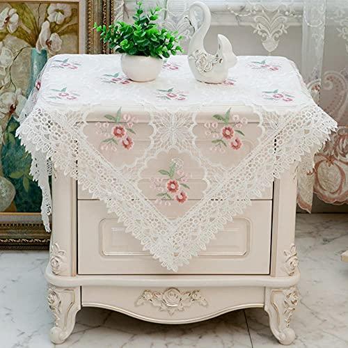 Top Qualtiy - Mantel de encaje romántico con decoración para mesita de noche para gabinete, mantel, a prueba de polvo, toalla para dormitorio, azulejos, 706,56 x 56 cm