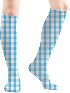 FireBrick Gingham Light Blue White 19.7 Inch Compression Socks High Boots Stockings Long Hose for Yoga Walking for Women Man
