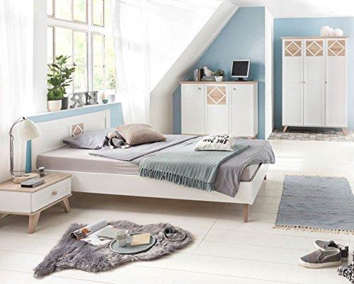 lifestyle4living Jugendzimmer, komplett-Set, Jungen, Mädchen, Jugendzimmermöbel, Kinderzimmer, Eiche sägerau-Nachbildung, alpinweiß, 3-türig, Drehtürenschrank,