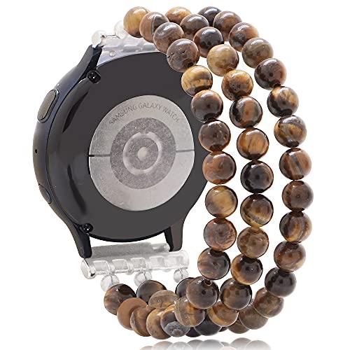 KAI Top Beaded Bracelet Compatible for Galaxy Watch Active 2 Bands 40mm 44mm, 20mm Fashion Handmade Elastic Beaded Replacement Strap for Galaxy Watch 42mm/Galaxy Watch 3 41mm Women Girls