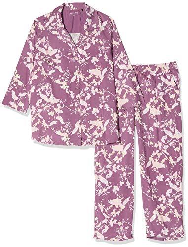 Schiesser Damen Pyjama 7/8 Lang, 3/4 Arm Zweiteiliger Schlafanzug, Rot (Beere 512), 42 (Herstellergröße:042)
