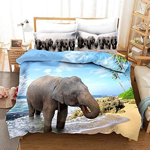 Qiuka Elefante 1 Funda Nordica 140x200cm + 2 Fundas de Almohada 48x74cm,Elefante mar Playa Ropa de Cama Infantil de Microfibr, Juego de Ropa de Cama Cierre con Cremallera