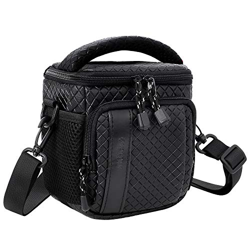 MCHENG Waterproof Shock Resistant Compact Camera Case with Shoulder Strap for Nikon 1 J1 COOLPIX A10 B500 P90 / Sony A5000 A6000 Cyber-Shot DSC-W830 / Olympus Tough TG-5, Black