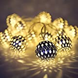 Haau Globe String Lights Plug-in Metal Ball Lights, Connectable with Tail Plug, Adjustable with 8 Lighting Modes, Decorations for Diwali, Christmas, Halloween, Party, Wedding, Bedroom (Warm White)