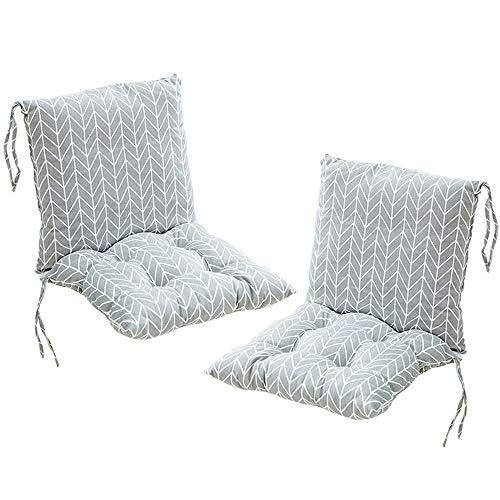Deike Mild 2 Stück Stuhlkissen mit Rückenteil Sitz, Rückenkissen mit Bänder, Niedriglehner Auflage Polsterauflage Gartenstuhl (O,40x40cm)