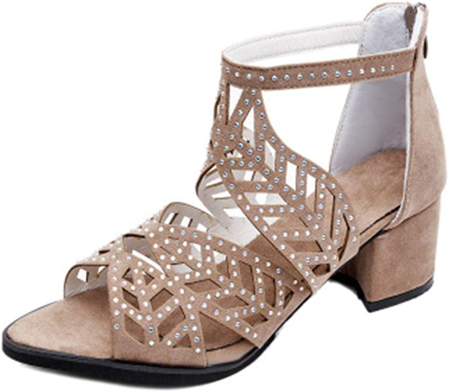 Eleganceoo Women's Fashion Chunky Heel with Buckle Ankle Strap Sandals