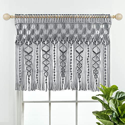 "Lush Decor Boho Macrame Textured Cotton Valance/Kitchen Curtain/Wall Decor, 30"" L x 40"" W, Gray"