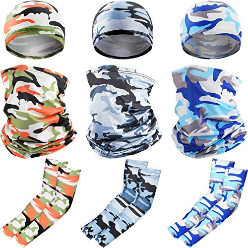 9 Pieces UV Protection Summer Face Covering Neck Gaiter Scarf, Cooling Arm Sleeve and Skull Cap Helmet Liner Unisex for Women Men Outdoor Sports, 3 Styles