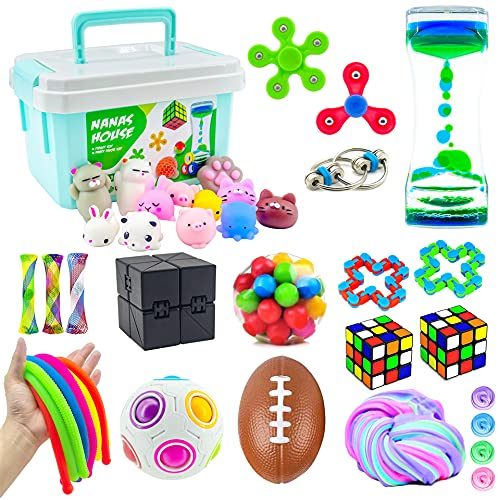 Fidget Toys Pack, Sensory Bundle with Storage Box, Fidget Chain, Squishies, Fluffy Slime, Infinity Cube, Liquid Motion Timer, Stress Relief Kits for ADHD Autism Anxiety, Kids Adults