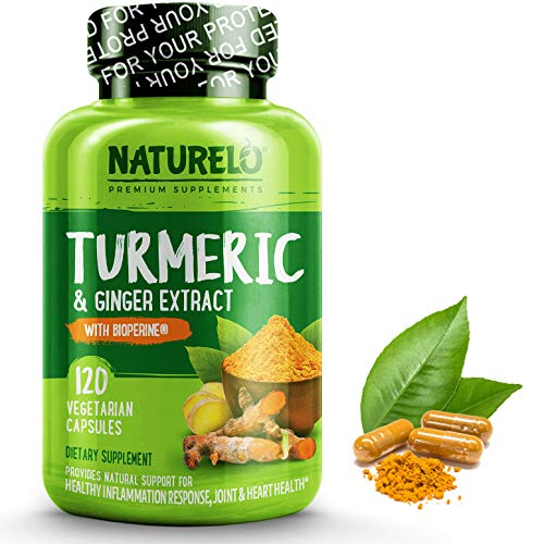 NATURELO Organic Turmeric Curcumin - BioPerine for Better Absorption - Curcuminoids, Black Pepper, Ginger Powder - Natural Relief for Stiff, Sore Joints - 120 Vegan Capsules