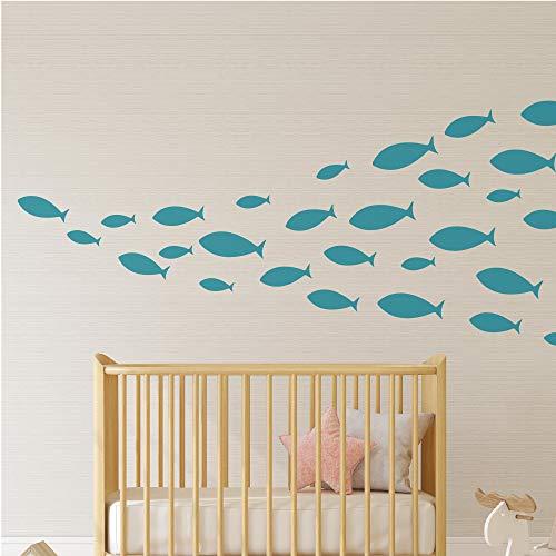 Ocean Fish Wall Decal- Under The Sea Vinyl Wall Stickers for Kids Room Bedroom Bathroom Nursery Decor-Teal