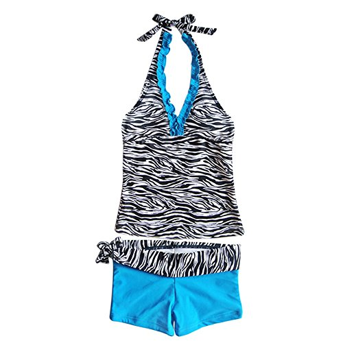YiZYiF Kinder Mädchen Tankini mit Panty Short Neckholder Badeanzug Mambo Tie-Dye Bikini Set 128 140 152 164 176 (Zweiteiliger Blau mit Zebra, 146-152)