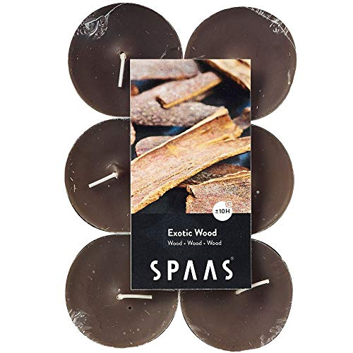 Spaas 12 Scented Maxi Tealights, 10 Hours, Exotic Wood
