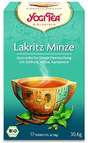 Yogi Tea 3x Lakritz-Minze Bio Yogi Tee I erfrischend lakritzige ayurvedische Tee-Mischung I Bio-Qualität - 3x 17 Tee-Beutel I Lakritze-Tee 3 Päckchen