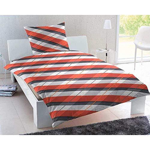 Keno Kent pościel z delikatnej flaneli wild Stripes czerwona 1 poszwa na kołdrę 135 x 200 cm + 1 poszewka na poduszkę 80 x 80 cm