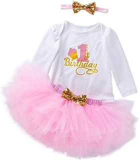 K-youth Vestidos Bebé Primer Cumpleaños Niñas Tutú Vestido de Princesa Vestidos de Fiestas para Niñas 3pcs Conjunto de Mam...