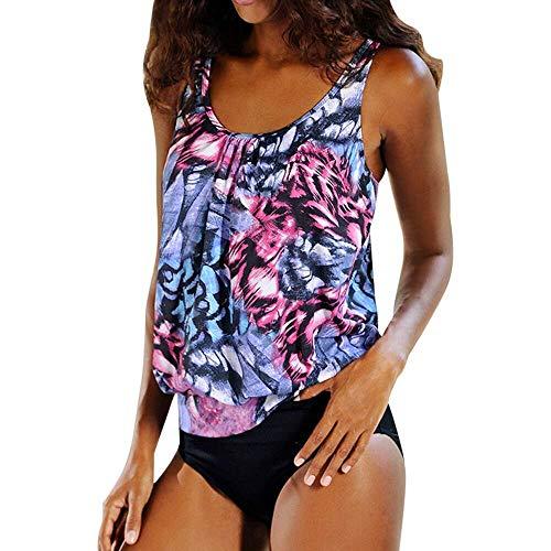 Bedruckte Tankini-Sets für Damen, zweiteilig, verstellbarer Träger, Hipster-Hose, Badeanzug Gr. 52, Druck #1
