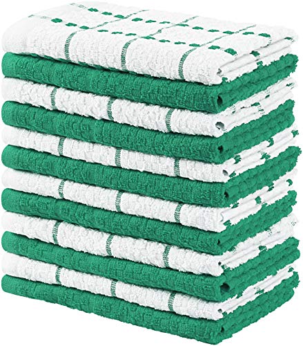 Utopia Towels Kitchen Towels, 15 x 25 Inches, 100% Ring Spun Cotton Super Soft and Absorbent Green Dish Towels, Tea Towels and Bar Towels, (Pack of 12)
