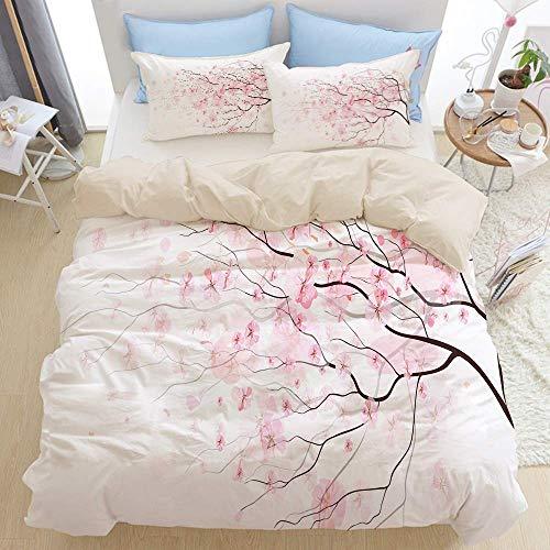 Juego de ropa de cama de 3 piezas, rama artística de Sakura con flores de cerezo, primavera japonesa tierna, juego de funda nórdica con cremallera de lujo moderno con 2 fundas de almohada Juego de fun