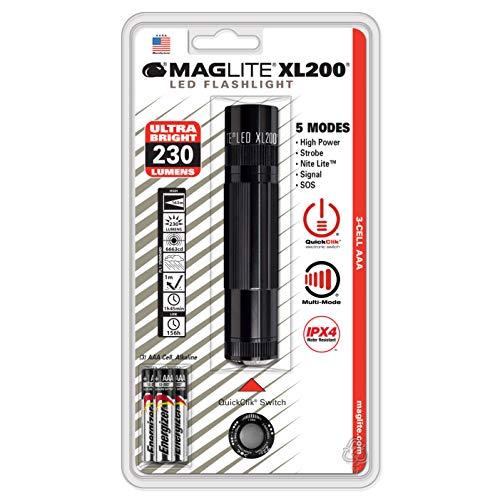Mag-Lite XL200S3017 - Linterna LED (172 lúmenes, 12 cm, 5 modalidades, control de movimiento e interruptor multifunción electrónico), color negro