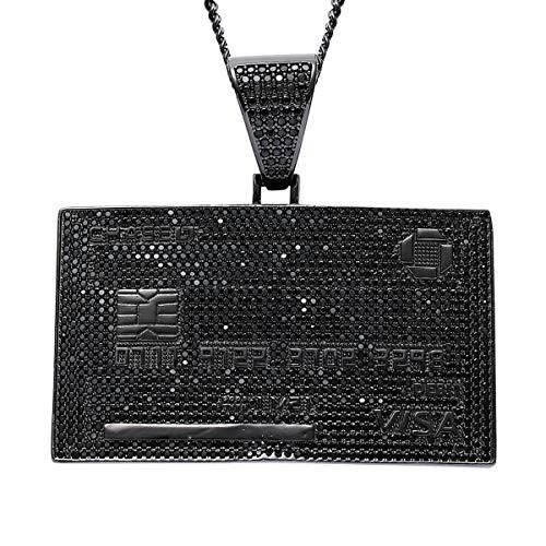 Colgante, Collar de la Tarjeta Visa Exquisita de Oro Colgante hacia Fuera Helado con la Cadena de 60 cm Hip Hop Accesorios Hombres/Mujeres Regalos,Negro