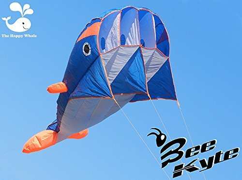 Bee-Kite Happy Whale - Single Line Parafoil Kite 220 x 75 cm. - Ready...