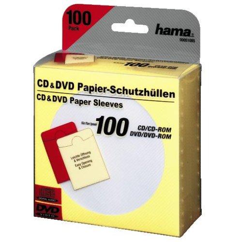 Hama CD/DVD-ROM Papierhüllen 100, Gelb