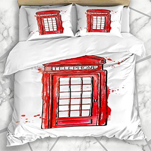 Juegos de fundas nórdicas Teléfono rojo público Famosa caja de teléfono de acuarela de Londres Cabina de dibujo de Inglaterra Ropa de cama de microfibra británica con 2 fundas de almohada Cuidado fáci
