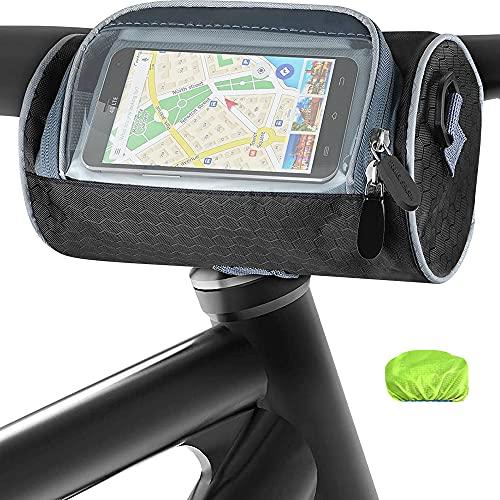 Komake Sacoche de Guidon étanche, Téléphone de Panier de Vélo avec Bandoulière avec bandoulière Amovible Sacoche Cadre Vélo Grande Capacité avec Écran Tactile Transparent (Noir)