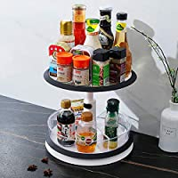 Qisiewell 11 Inch 2-Tier Height Adjustable Lazy Susan Turntable Rotating Spice Organizer (Black/White)