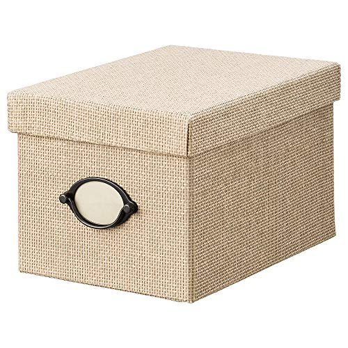 IKEA KVARNVIK caja de almacenaje con tapa 18x15 cm beige